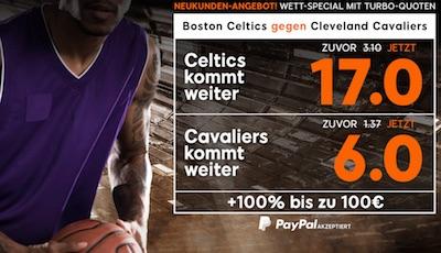 Tubro Quoten zu Celtics-Cavs bei 888sport