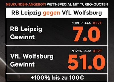888sport Quotenboost zu RB Leipzig gegen VfL Wolfsburg