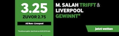Betway Boost auf Liverpool Sieg mit Salah Tor