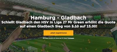 Mr.Green: HSV-Gladbach Quotenboost