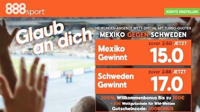 888sport Quotenboost zu Mexiko gegen Schweden