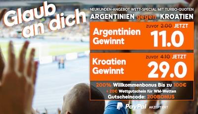 Argentinien-Kroatien: Super Quoten von 888sport
