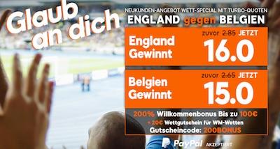 England-Belgien: 888sport punktet mit Megaquoten