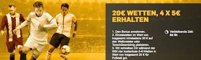 WM: 20€ bei Betfair wetten, 20€ erhalten