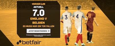 Betfair Quotenboost zu England gegen Belgien