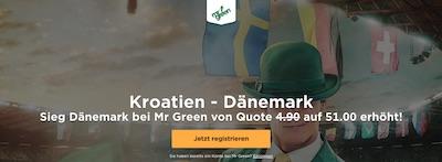 Kroatien gegen Dänemark Quotenboost bei Mr. Green
