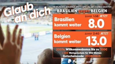 888sport Quotenboost zu Brasilien gegen Belgien
