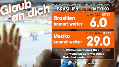 888sport Quotenboost bei Brasilien-Mexiko