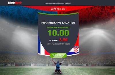 Netbet Quotenaktion auf Frankreich besiegt Kroatien
