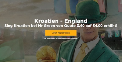 Mr.Green: Quoten Turbo zu Kroatien vs. England