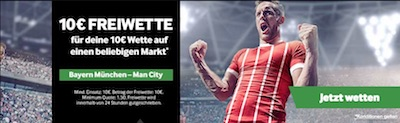 Betway Freebet zu Bayern München gegen Manchester City