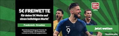 Betway Freiwette zu Frankreich gegen Kroatien