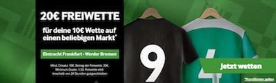 Frankfurt - Bremen: 20€ bei Betway kassieren
