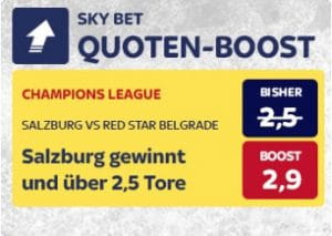 Salzburg gegen Roter Stern Belgrad Quotenboost
