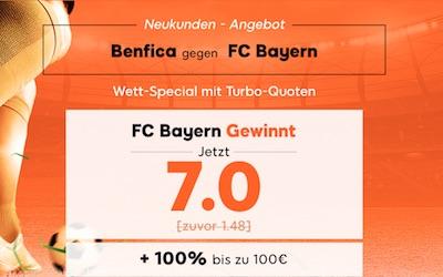 888sport Quotenboost zu Benfica Lissabon gegen Bayern München