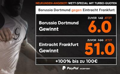 Quote 6.0 auf BVB, 51.0 auf Frankfurt bei 888sport