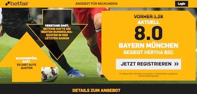Erhöhte Quote bei Betfair auf einen Bayern Sieg in Berlin