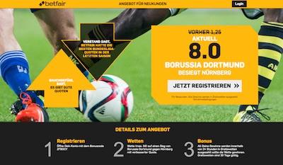 Betfair: Quote 8.0 auf BVB besiegt Nürnberg