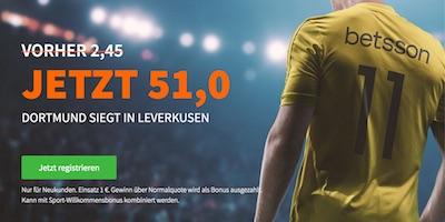 Betsson Quotenboost für Dortmund besiegt Leverkusen