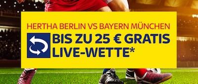 Live Gratiswette zu Hertha-Bayern bei SkyBet verfügbar!