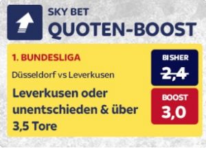 Leverkusen gegen Düsseldorf Quotenboost bei Skybet