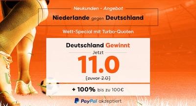 Quote 11.0 auf Deutschland gewinnt bei 888sport
