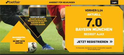 Quote 7.0 auf Bayern besiegt Ajax