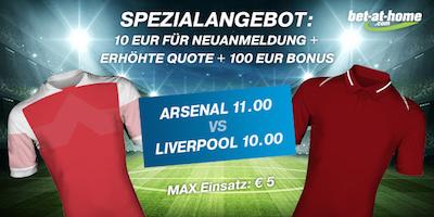 Bet-at-home mit erhöhter Quote zum PL-Topmatch Arsenal - Liverpool