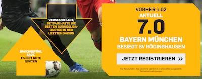 Betfair mit erhöhter Quote auf Bayern gegen Rödinghausen