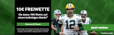 Betway: 10€ Guthaben beim NFL Duell Titans-Ravans kassieren
