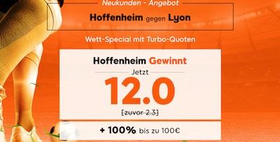 Quote 12.0 auf Hoffenheim besiegt Lyon bei 888sport