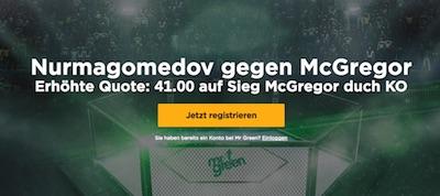 Mr Green erhöht die Quote auf McGregor