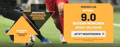 Bayern gegen Wolfsburg Quotenboost bei Betfair