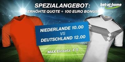 bet at home: 10.0 auf Niederlande, 12.0 auf Deutschland