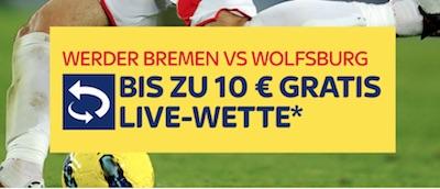 Live-Freiwette zu Werder gegen Wolfsburg bei Skybet