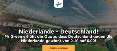 Niederlande gegen Deutschland Quotenboost bei Mr. Green