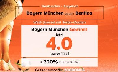 888sport Quotenboost zu Bayern München gegen Benfica Lissabon