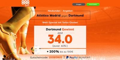 Quote 34.0 auf Dortmund besiegt Atletico