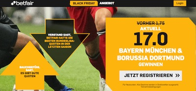 Betfair hat ein Bundesliga Quotenangebot zum Black Friday