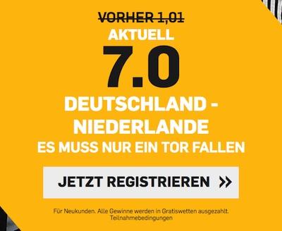 Deutschland-Holland: 7.0 auf mehr als 0,5 Tore