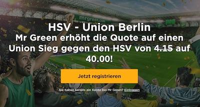 Mr Green erhöht die Quote auf HSV vs Union Berlin