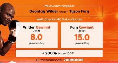 888sport: 8.0 auf Wilder, 15.0 auf Fury