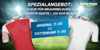 Bet-at-home Quotenboost zu Arsenal gegen Tottenham
