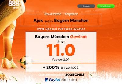 Quote 11.0 auf Bayern besiegt Ajax (888sport)