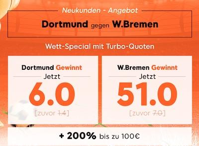 888sport Quotenboost zu Borussia Dortmund gegen Werder Bremen