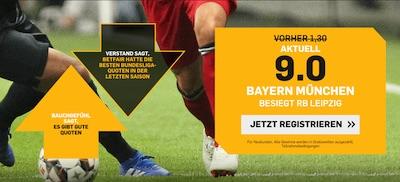 Bundesliga bei Betfair: 9.0 auf Bayern besiegt Leipzig