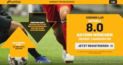 8.0 auf Bayern besiegt Hannover (Betfair)