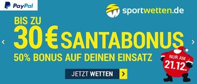 21. Dezember: 30€ Guthaben für deine Wette bei sportwetten.de