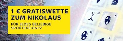1€ Freiwette zum Nikolaustag von Sky Bet