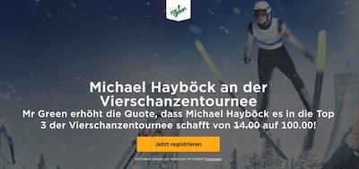 MrGreen: Quote 100.0 auf Hayböck kommt bei der Tournee in die Top 3